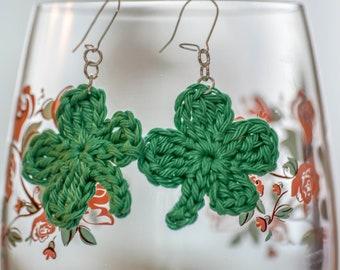 Four Leaf Clover Dangle Earrings. 109 Colour Options. Handmade to Order.