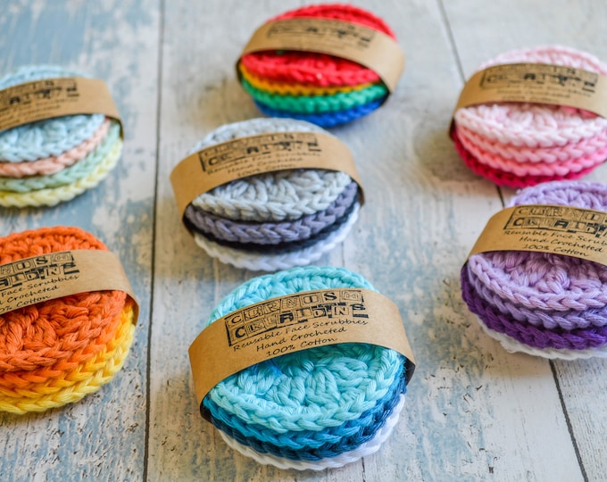 Featured listing image: Pampering Makeup Face Scrubbies. 109 Colour Options. Sets of 4,8 or 12. Handmade to Order.