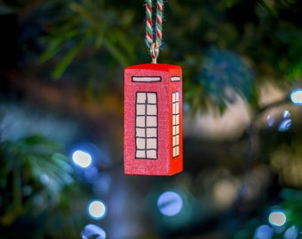 British Phone Box Christmas Tree Hanger. 90 Colour Options. Handmade to Order.