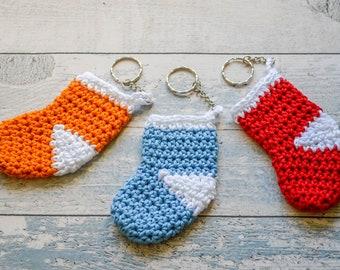 Christmas Stocking Sock Keyring. 120 Colour Options. Handmade to Order.