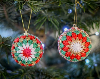 Festive Christmas Cotton Baubles. 111 Colour Options. Sets of 2, 4 or 6 Handmade to Order.