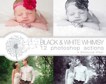 Black and White Photoshop Actions | Instant Download | Monochromatic Sepia | Wedding Baby Romance photoshop editing