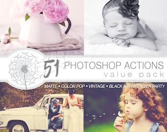 51 Photoshop Actions | Instant Download | Matte | Color Pop | Black & White | Tea Party | Vintage