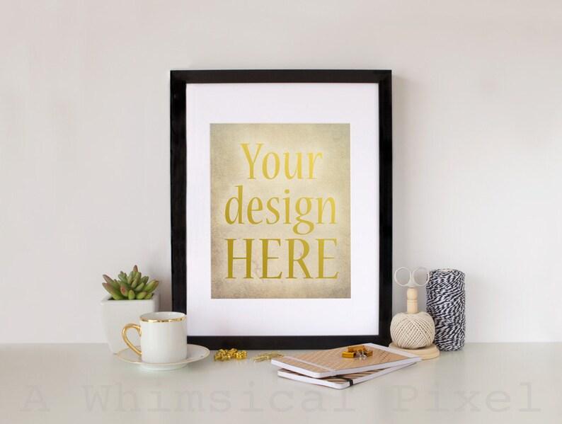 Styled Stock Photography  Feminine Black & Gold  Black Frame image 0