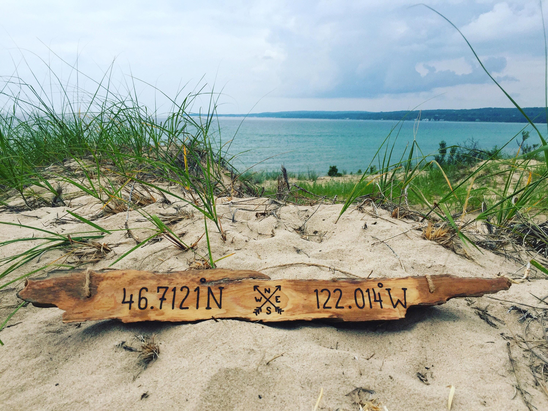 This Personalized Gift Longitude Latitude Driftwood Sign