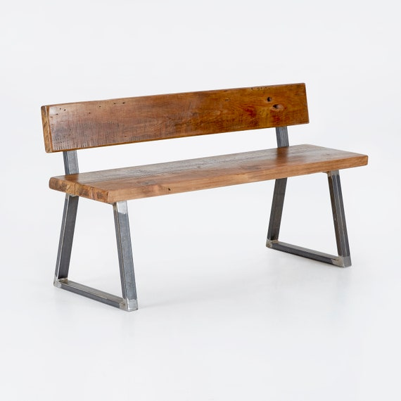 Surprising Industrial Reclaimed Wood Bench With Back The Triangle Onthecornerstone Fun Painted Chair Ideas Images Onthecornerstoneorg