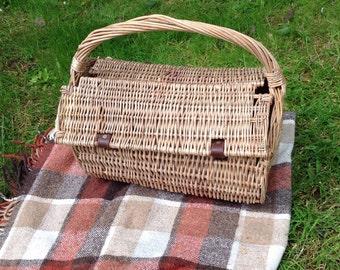 Wicker picnic basket.