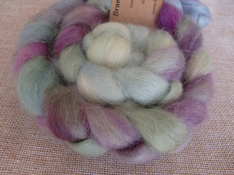 Hand Dyed Wensleydale British Rare Breed Combed Top for Spinning or Felting 100g