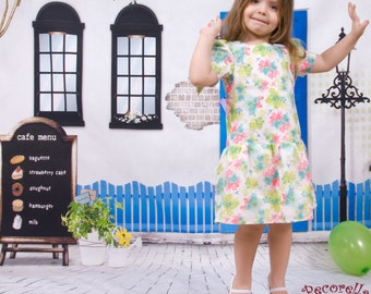 """Baby dress in white printed """"floral""""  cotton"""