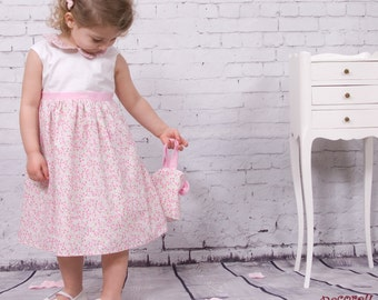 "baby  flower dress in white/rose  with collar ""Peter Pan"""