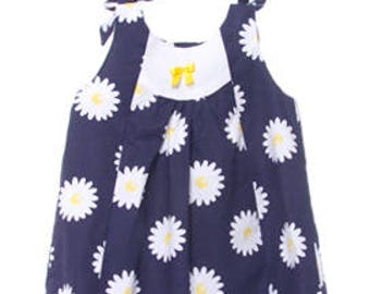 Baby girl summer dress in blue navy printed sunflowers with yellow bow