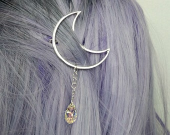 Pre-made Magical Girl Ethereal Moonlight Moon Droplet Hair Clip Made With Swarovski Elements
