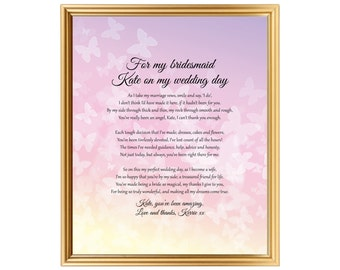 Bridesmaids Gift On Wedding Day Wedding Gift Personalized From Bride To Bridesmaids For Bridesmaids Printed Or Jpg 8x10 Inch
