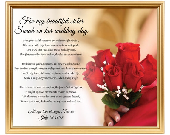 Wedding Gifts For Sisters: Wedding Gift Poem For Sister Sister Wedding Gift Gifts For