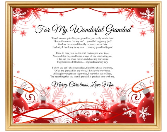 Opa Gedicht Geschenk Weihnachten personalisierte Gedicht für | Etsy