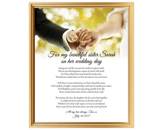 Wedding Gift For Sister Ideas: Sister Wedding Gift Wedding Gift Poem For Sister Gifts For