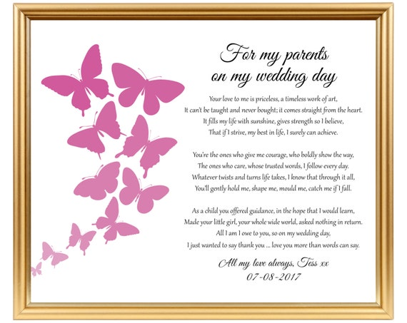 Wedding Thank You Gift Poem To My Parents To Mom Mum Etsy