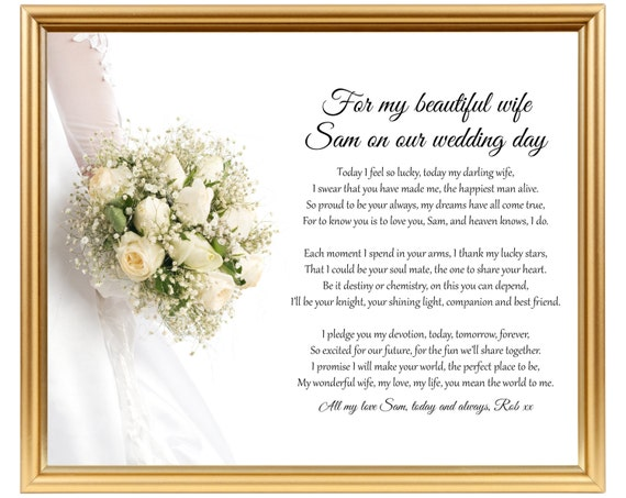 Groom To Bride Wedding Gift Poem Gift For Wife On Wedding Etsy