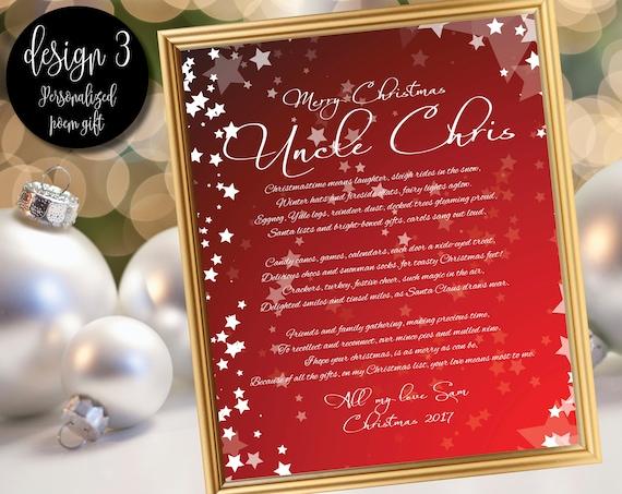 Gedicht Weihnachtsgeschenk für Onkel / Geschenk für Onkel / | Etsy