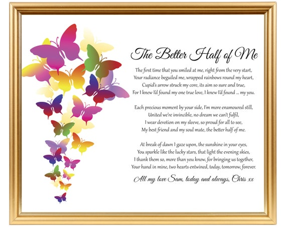Wedding Anniversary Poem Gift For My Wife For My Husband For Etsy