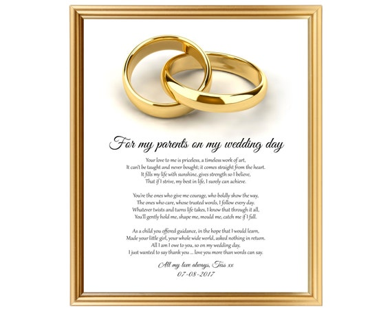 Personalized Wedding Gift To Parents On Wedding Day Thank Etsy