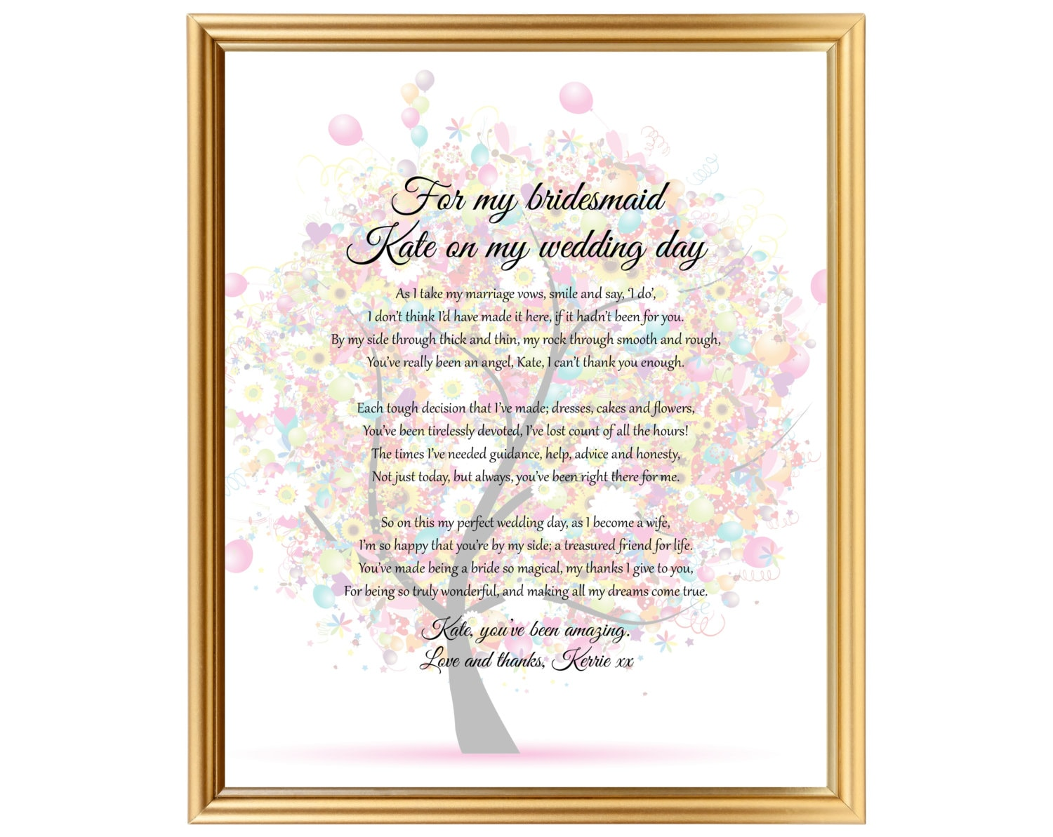 A Perfect Wedding Gift: Perfect Bridesmaids Present Wedding Gift Personalized For