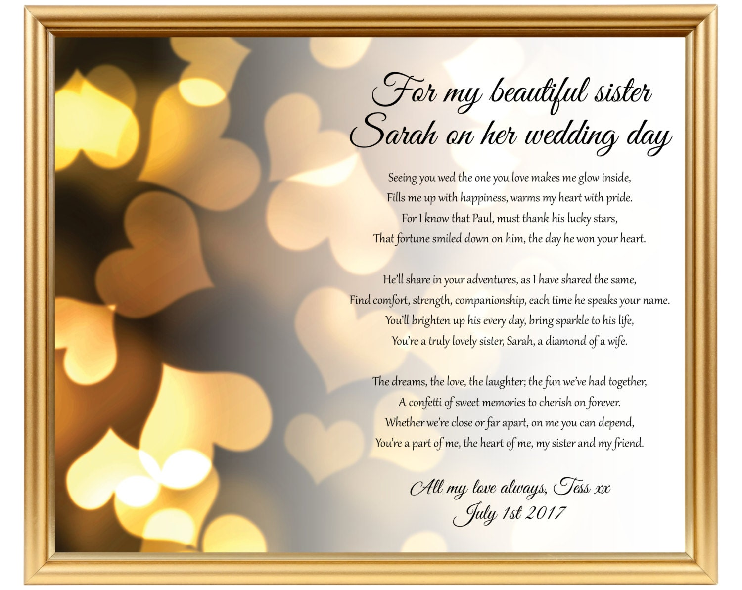 Poem For Wedding Gifts: Sister Wedding Gift Wedding Gift Poem For Sister Gifts For