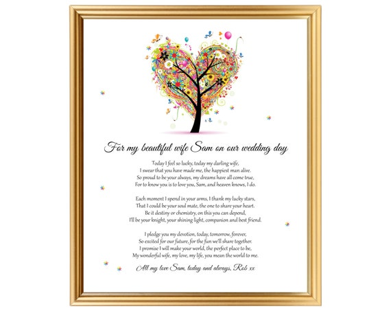 Wedding Day Gift For Wife: Poem Gift Personalized For Wife On Our Wedding Day Wedding