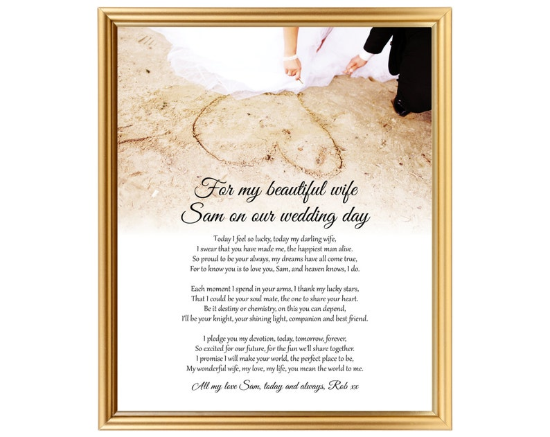 Unique Wedding Day Poem Gift For Bride From Groom To Bride Etsy