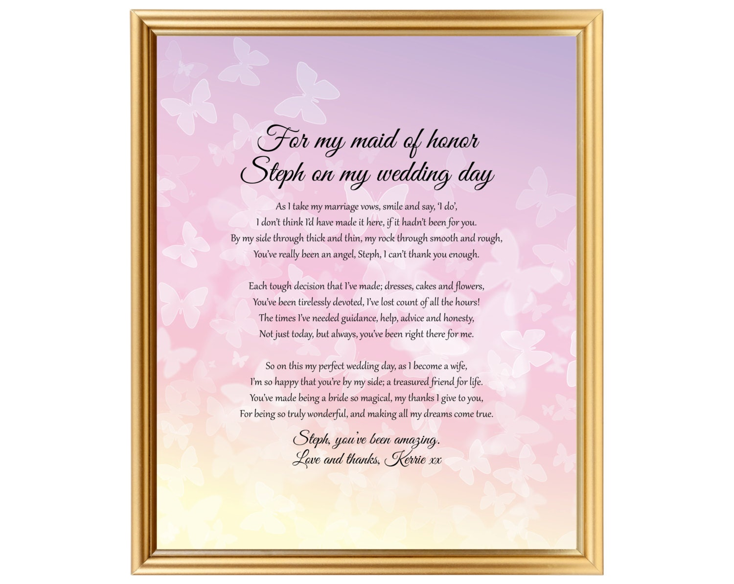 Maid of Honor keepsake Bride gift for her best friend On