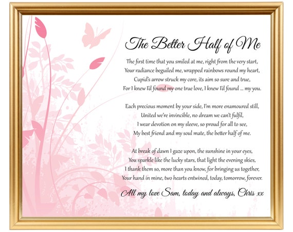 16 Year Wedding Anniversary Gift For Her: Wedding Anniversary Poem Gift Personalized For Wife For