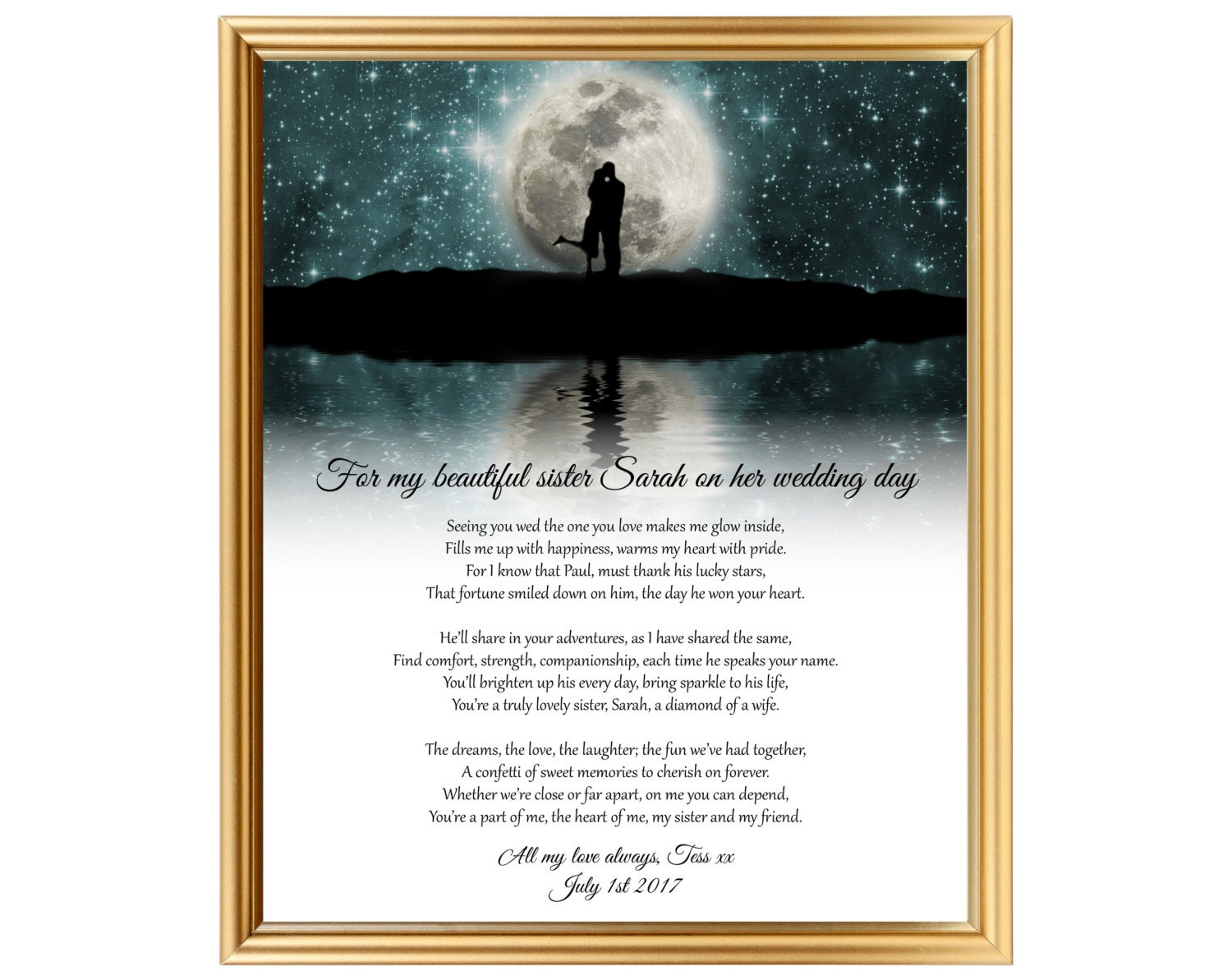 Sister wedding gift Wedding gift poem for Sister Gifts for