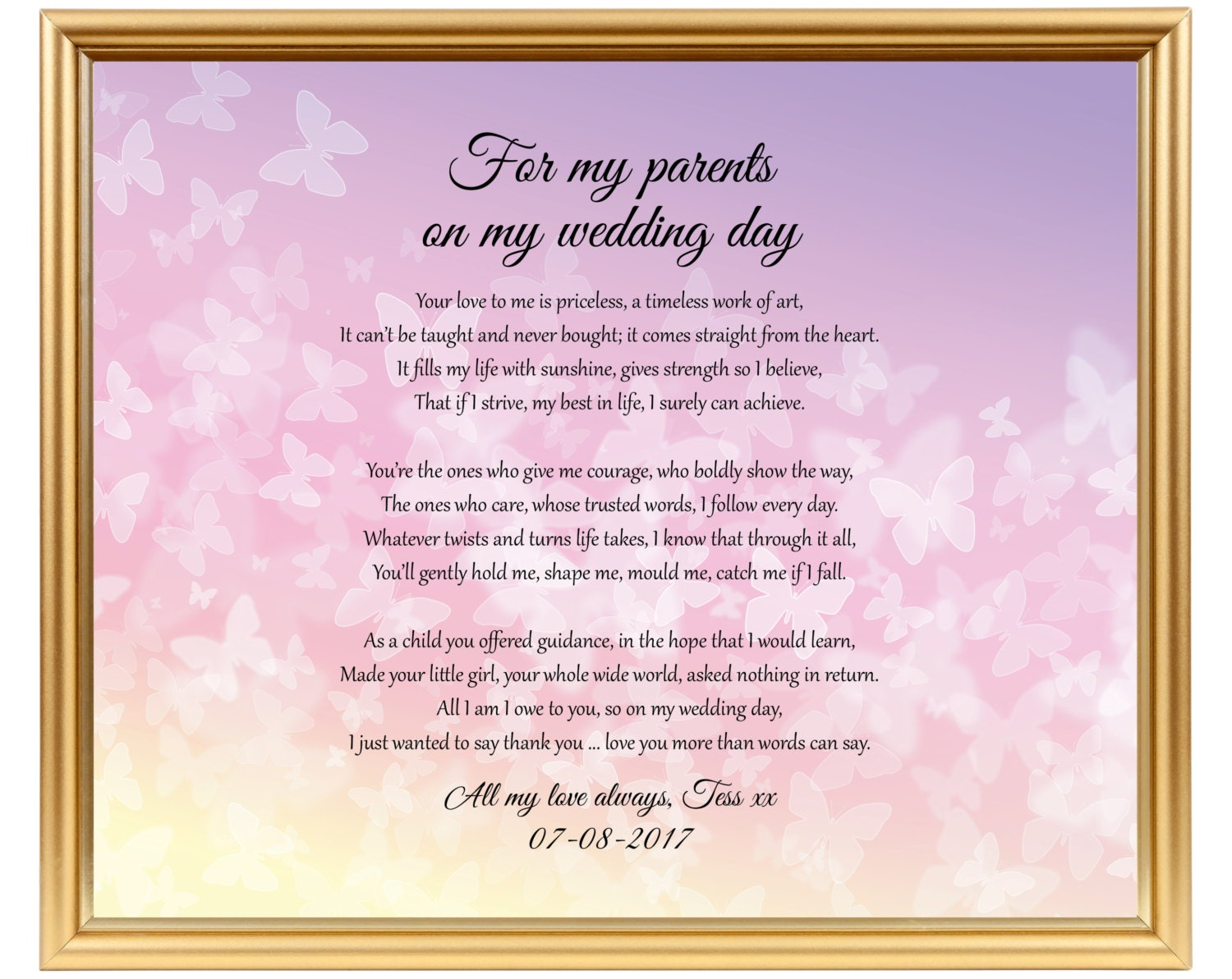 Wedding gift poem From Bride to parents Poem gift to Mom | Etsy