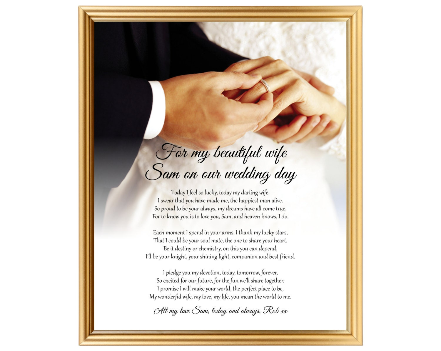 Wedding Day Gift For Wife: Poem Gift Of Love For Wife For My Bride On Our Wedding Day