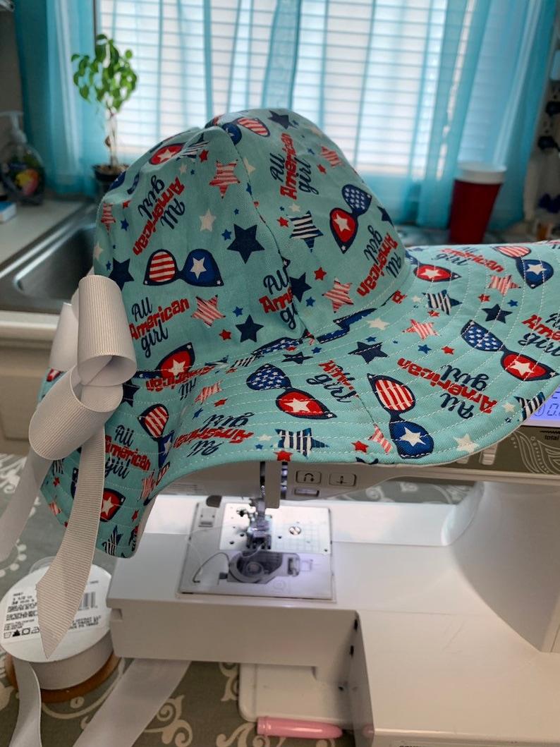 Toddler patriotic floppy sun hat