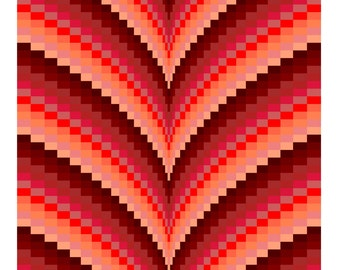 Autumn Points Bargello Quilt Pattern & Tutorial, Lap size and King/Queen size, Digital Download PDF