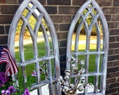 Farmhouse Arched Frames with Mirror set of two