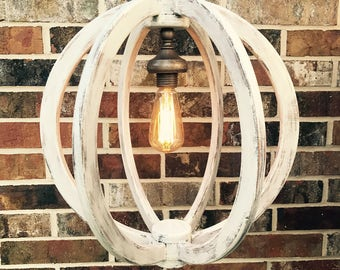 Rustic Farmhouse Light Fixture, Distressed Wooden Orb Chandelier Sphere Chandelier, farmhouse lighting