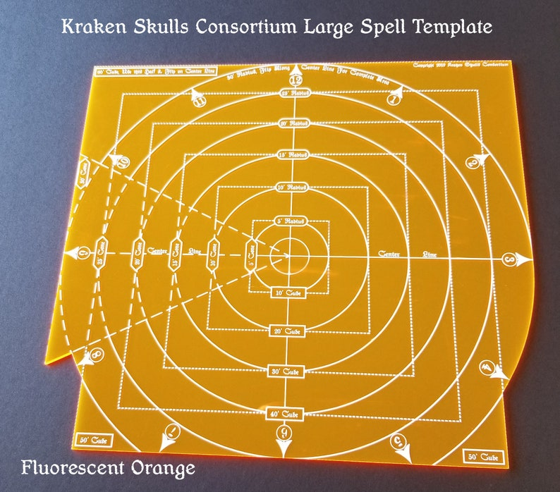 30' Radius, 60' Cube, 30' Cone Spell Template For 5th Edition D&D,  Pathfinder and other fantasy RPGs