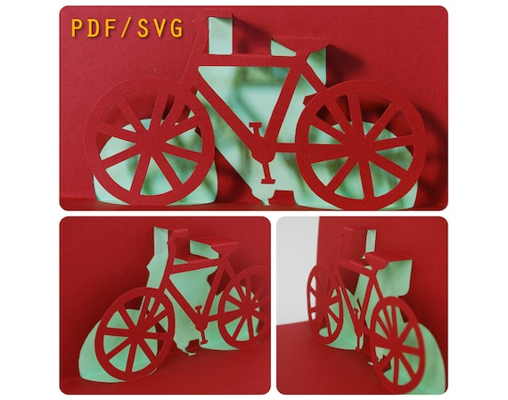 Templates Pdf Svg Easy Diy For Bike 3d Pop Up Card Etsy