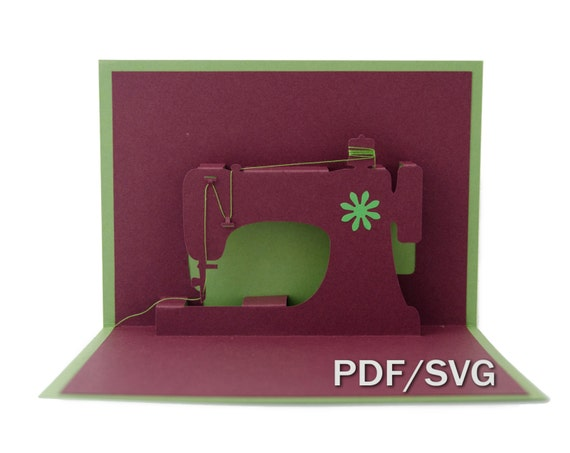 Templates Pdf Svg For Sewing Machine 3d Pop Up Card Etsy