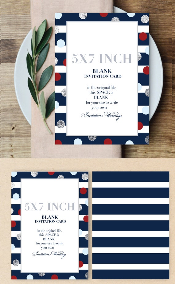 Nautical Theme Blank Card Design Blank Card Nautical Card Invitation Card Blank Invitation Card Blank Card Design Striped Polka Dot Card