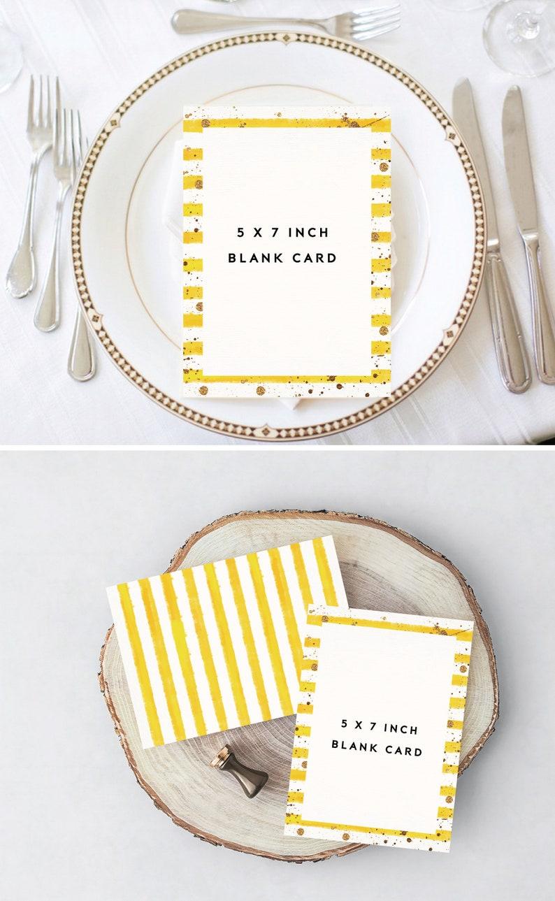 Printable Blank Card Yellow Stripes Card Blank Invitation Etsy