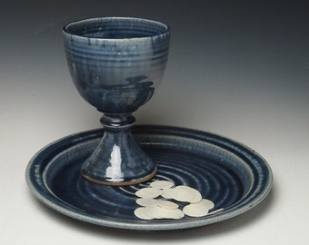 common cup  set, pottery chalice and large plate set
