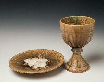 pottery communion ware, ceramic chalice and paten set, common cup