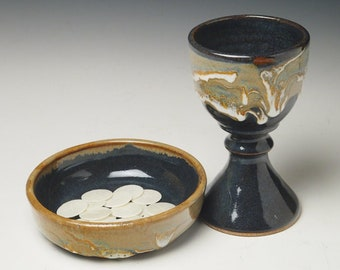 pottery communion ware, smaller ceramic chalice and paten set, common cup