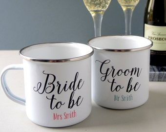 Personalised Bride to be and Groom to be mugs