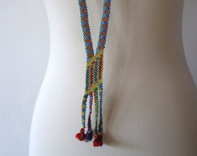 Antique 1920s Rainbow Multicolor Seed Bead Sautoir Necklace - Glass Bead Flapper Necklace - Fringe Jewelry