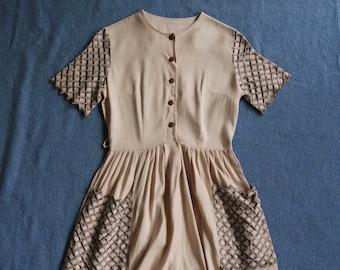 Vintage 1950s Crosshatch Day Dress - Linen Blend Classic Pleated Dress