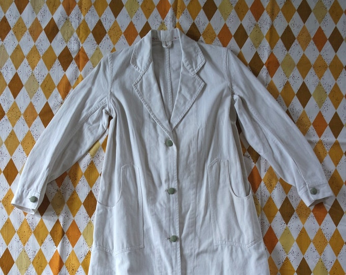 Vintage 1930s White Canvas Work Smock Duster Jacket - 30s Work Wear - 30s Duster Jacket - Size Small